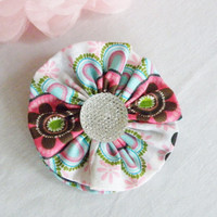 Turquoise Pink White Fabric Rosette Flower Accessory Hair Clip Hair Bow