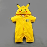 Fashion infant newborn baby romper jumpsuit outfit baby costume halloween cartoon pokemon clothes for girls baby rompers summer