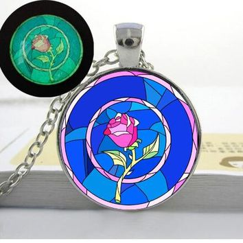Glowing beauty and the beast rose necklace jewelry rose pendant necklace Glass Cabochon Necklace Glow in the dark rose