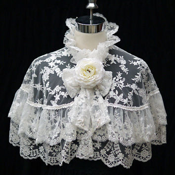 Lace Capelet, Elegant Lace Cape in White, Lolita & Gothic day out
