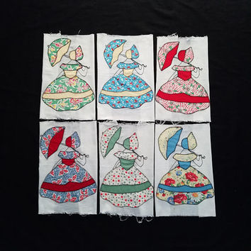 6 Vintage Quilt Blocks Southern Belle Parasol Lady Hand Applique Cotton Blocks Umbrella Sue