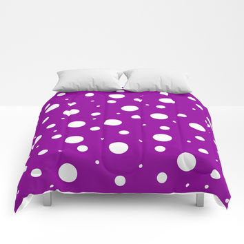 White asymetric polka dot pattern on purple, violet background, simple vintage style theme, classic Comforters by Peter Reiss