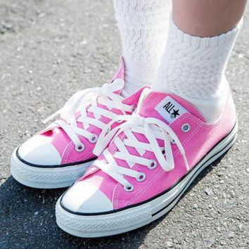 Women With Men White Converse Fashion Canvas Flats Sneakers Sport Shoes-7