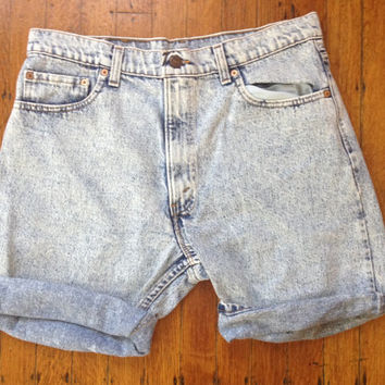 Vintage 1980s 80s Acid Wash Heavily Washed and Worn Levi 550 Boy Shorts Levi Boyfriend shorts Waist 36 Unisex
