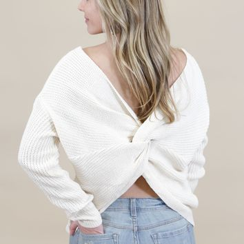 Twisted Knot Sweater, Cream