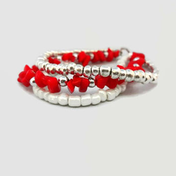 Striking Red, Silver and White Beaded Bracelet, Triple Strand Red and White Seed Bead Bracelet #Accessories #Bracelets #Red #White