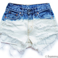 "ALL SIZES ""PLAINO"" Vintage Levi high-waisted denim shorts blue ombre dip dyed bleached"