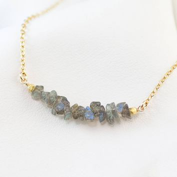Labradorite Dainty Choker Necklace, Gemstone Bar Necklace
