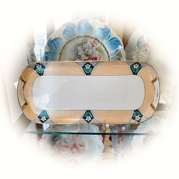 1920s Noritake Tray Porcelain Vanity Dresser Boudoir Art Deco Hand Painted Handpainted Tray Made in Japan Morimura Company Flowers Floral