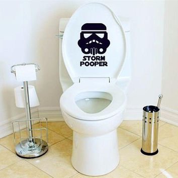 High Quality Amusing Funny Storm Pooper Toilet Wall Poster Seat Decal Cool Star Wars Bathroom Door DIY Sticker Decoration S-48