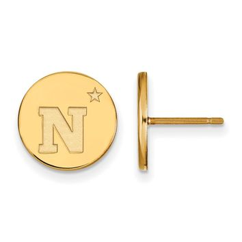 NCAA 14k Gold Plated Silver Navy Small Disc Earrings