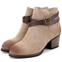 Buckled Faux Suede Ankle Boots - OASAP.com