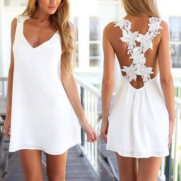 Women's Fashion Summer Chiffon Backless Lace Spaghetti Strap One Piece Dress [7788951431]