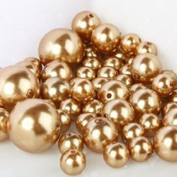1 X 8 Ounce Bag Approx 68 Pearls Wholesale Elegant Vase Fillers or Table Scatter Golden Pearl Beads - Unique Decorative Beads for Weddings, Centerpieces and More