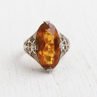 Antique 14k White Gold Art Deco Citrine Orange Stone Ring - Vintage Size 4 3/4 1920s Belais Bros Filigree Fine Jewelry / Golden Oblong Oval