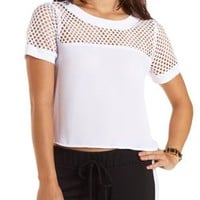 Fishnet & Chiffon Crop Top by Charlotte Russe - White