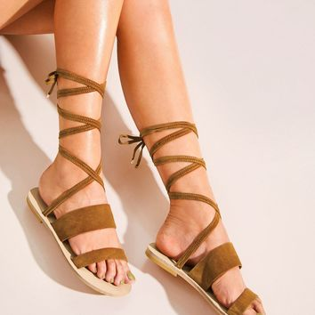 Open Toe Tie Leg Sandals