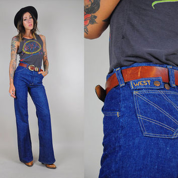Wrangler vtg 70's bell bottom EAST & WEST sun stitched JEANS High waist Hippie Rare bohemian flared