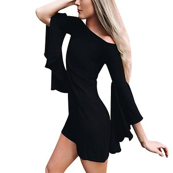 New Women One Off Shoulder Flare Sleeve Mini Dress Solid Black Slash Neck Flare Sleeve Elegant