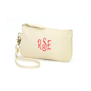 Cream Mini Wristlet Purse Wallet Creme - Monogrammed Personalized Purse