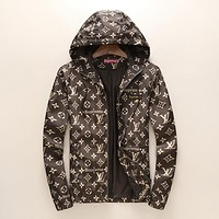Supreme & LV tide brand fashion men and women casual jacket F-A00FS-GJ Brown