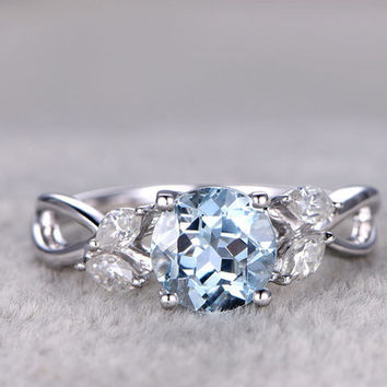1.2 Carat White Gold Aquamarine Engagement Rings With Diamonds Flower Marquise Cut Retro Vintage 14k/18k