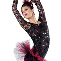 Long Sleeve Sequin Lace Leotard -Weissman Costumes