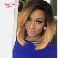 Ombre wig virgin hair honey blonde brazilian hair 3 tone wig ombre human hair 1b/4/27#ombre brazilian virgin hair full lace wigs
