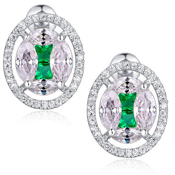 Oval Shape W. Green and Clear Cubic Zirconia Stud Earrings