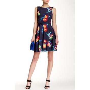 Betsey Johnson Sleeveless Scuba Floral Fit & Flare Dress