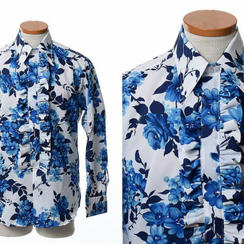 Vintage 70s Floral Ruffle Tuxedo Shirt 1970s Mod Flowers New Wave Party Prom Disco Dress Shirt / Mens M/L
