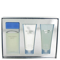 Light Blue by Dolce & Gabbana Gift Set -- 3.4 oz Eau De Toilette Spray + 3.4 oz Body Cream + 3.4 oz Shower Gel (Women)