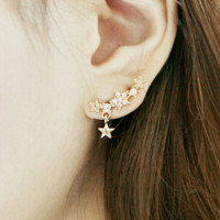 Glittering full-bore five-pointed star little star pendant earrings