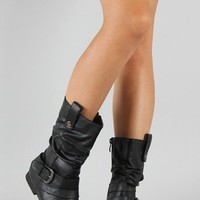 Meley-8 Slouchy Leatherette Mid Calf Boot