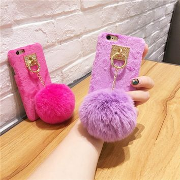 New Luxury Warm Furry Rabbit Fur Plush Ball Case For IPhone6s 6/7 Plus 7+ 8 8P 5.5 Inch Cover