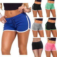 Summer Sport Casual Women Drawstring Stretch Slim Skinny Mini All Cotton Sports Running Shorts = 1930043460