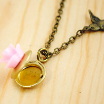 Pink Rose Locket with Sparrow Girl Necklace