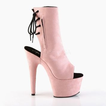 "Adore 1018FS Vegan Suede 7"" High Heel Open Toe Ankle Boot Pink"