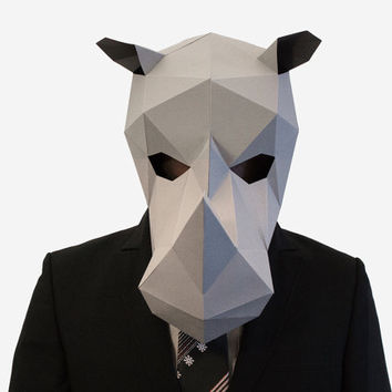 Make your own Rhino Mask, Animal Head, Rhinoceros Mask, Instant Pdf download, DIY New Year Mask, 3D Polygon Masks, Printable Mask