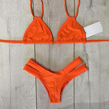Marbella Halter Strappy Cheeky Brazilian Bikini in Hot Orange