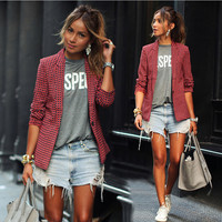 Red Plaid LapeL Long Sleeve Short Blazer Coat