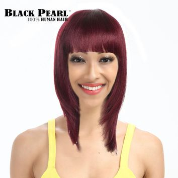 Black Pearl Wine Red Human Hair Wigs For Black Women 16inch Medium Long Straight Bob Wigs with Bangs 99j#  Remy Hair Products