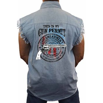 Men's USA Flag Sleeveless Denim Shirt This is my Gun Permit Biker