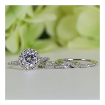 Halo Round Cubic Zirconia Double Band Engagement Ring Set In Sterling Silver