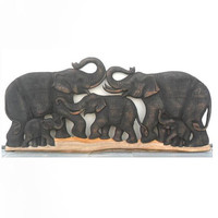 """Wood Carving Of 5 Elephant Family Art Hand Carved Natural Teak Elephants Home Decor Wall Hanging Handmade Gift 39""""X18"""""""