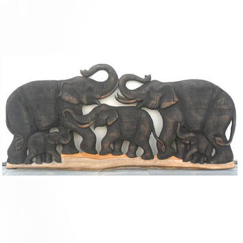 "Wood Carving Of 5 Elephant Family Art Hand Carved Natural Teak Elephants Home Decor Wall Hanging Handmade Gift 39""X18"""