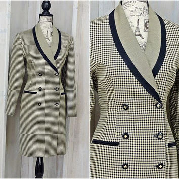 80s Houndstooth dress / size 10 / 12 / vintage  tailored coat dress /  Secretary / Career / Retro / Danny & Nicole New York