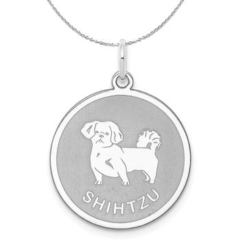 Sterling Silver Laser Etched Shih Tzu Dog 19mm Necklace