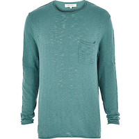 River Island MensGreen slouchy long sleeve sweater