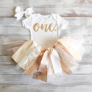 Monogrammed Personalized Burlap Baby Pink and Gold Lace 1st Birthday Outfit Baby Girl Tutu Bodysuit Bow Set Gold Birthday Shabby Chic